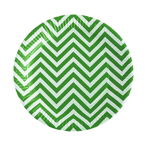 צלחות קטנות זיגזג ירוק 20 יח'