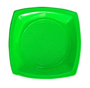 צלחות פלסטיק גדולות ירוק 20 יח'