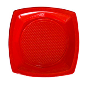 צלחות פלסטיק גדולות אדום 20 יח'