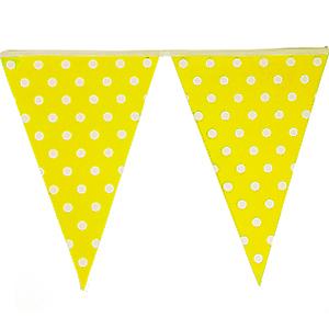 שרשרת דגלים צהוב נקודות 2 מ'