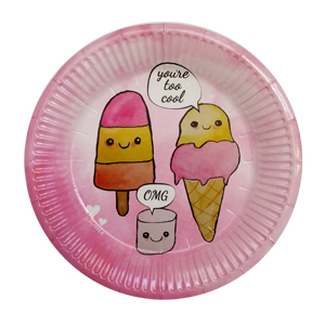 צלחות קטנות מסיבת גלידות 20 יח'