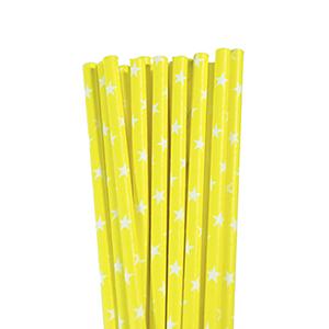 קשיות נייר צהוב כוכבים 20 יח'