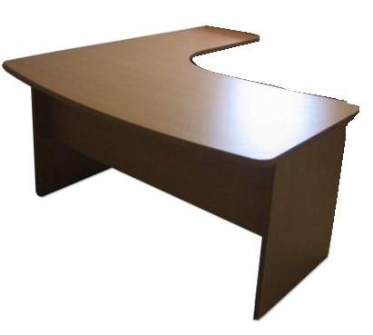 """שולחן כתיבה בצורת """"ר"""" עם חזית ישרה/ מעוגלת, חיפוי פורמייקה/ מלמין, רגלי עץ/מתכת"""