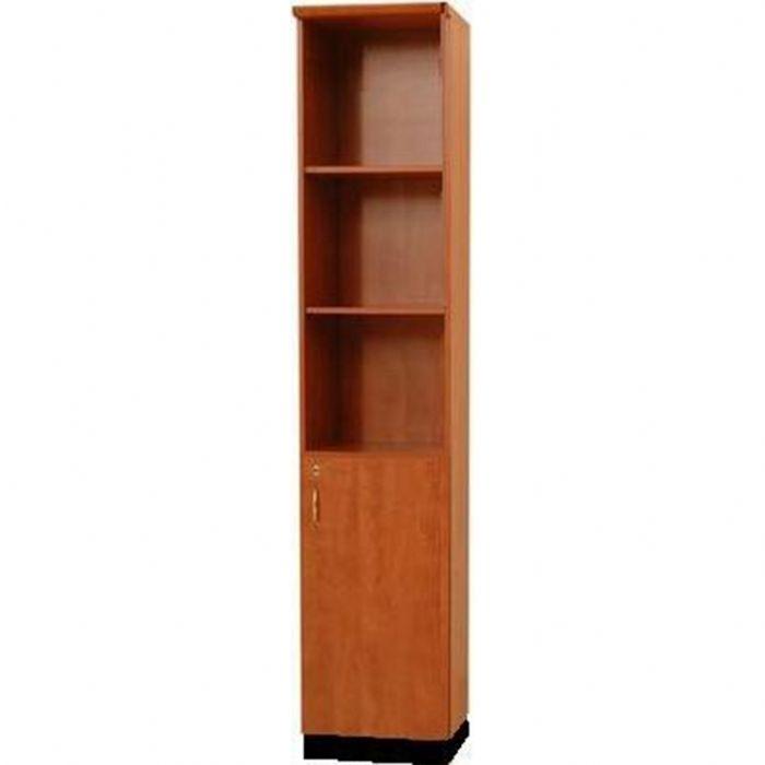 """ארון מדפים מעץ פתוח (כוננית) - 4 מדפים, עם דלת אחת בגובה 80 ס""""מ מחוברת בחלק התחתון"""