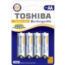 4 סוללות נטענות  TOSHIBA AA  2250mAh
