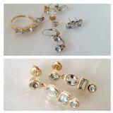 אוסף של תכשיטים עם אבני אקווה מרין, שלא היו בשימוש, הפכו לזוג עגילים שהיא אוהבת