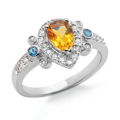 טבעת אבן חן יהלומי טופז הכחולה סיטרין עם זהב לבן