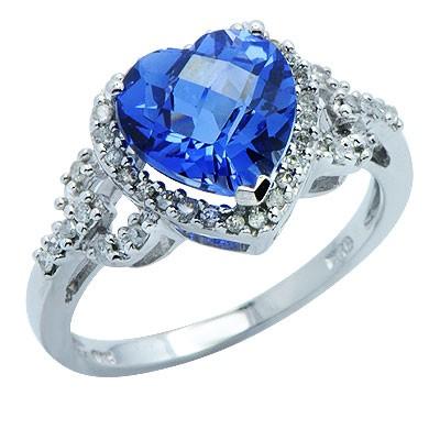 טבעת אבן חן ספיר יהלומים שנוצר בזהב לבן