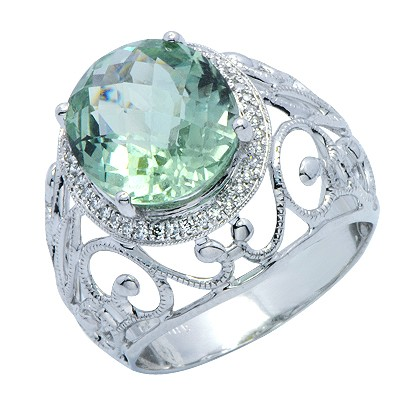 זהב לבן 14 קראט טבעת מעוטר אבן חן אמטיסט ויהלומים ירוקה