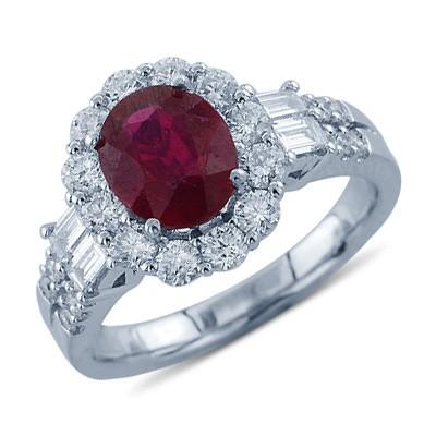 טבעת אבן חן יהלומים מבריקה אודם סגלגל חתך ב-18k זהב לבן