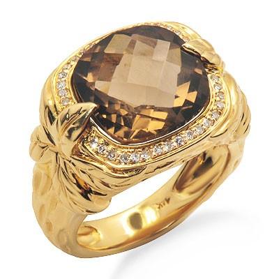 טבעת קוורץ ואבן חן גדולה יהלומים מעושן בזהב צהוב
