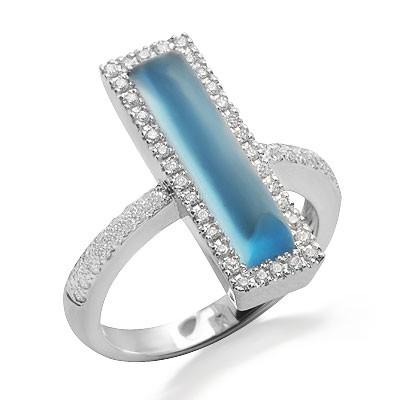 טופז מעצב סוליטר הכחולה וטבעת אבן חן ייחודית יהלומים בזהב לבן