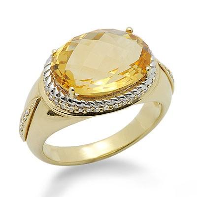 סוליטר סיטרין סגלגל חתך וטבעת אבן חן גדולה יהלומים בזהב צהוב