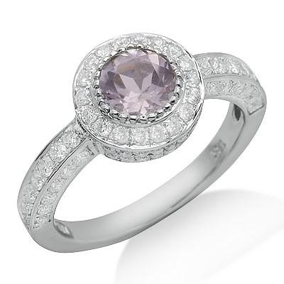 סוליטר טבעת אבן חן אמטיסט יהלום ורוד עגול לחתוך בזהב לבן