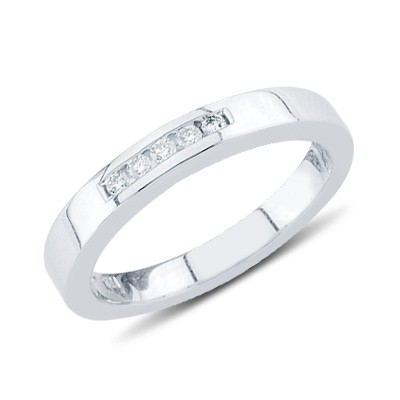 יהלומי חתונה טבעת בזהב לבן 14K