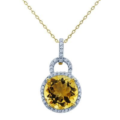 סוליטייר העגול סיטרין יהלומים אבני חן תליון בזהב צהוב 14K