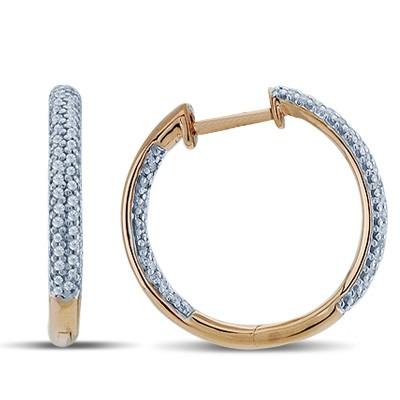 עגילי חישוק יהלומים ב-14K רוז זהב