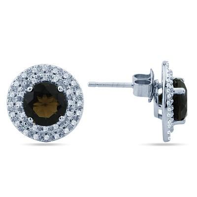 חיתוך עגול סמוקי קוורץ יהלומי חן מעגל העגילים ב-14K זהב לבן