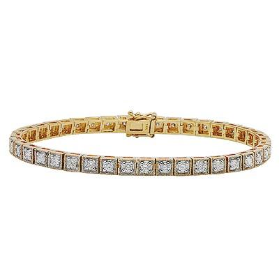 יהלום עגול סוליטייר צמיד זהב צהוב ב-14K