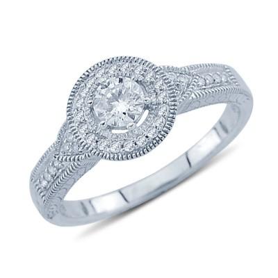 טבעת זהב לבן 14K יהלום הבטחה