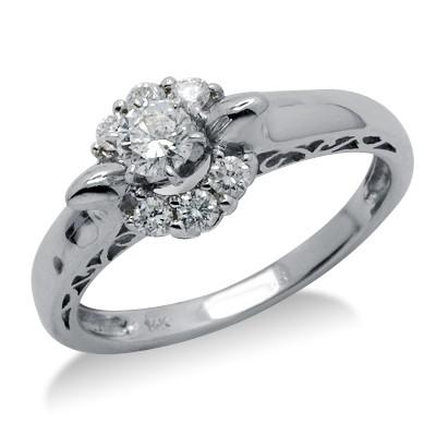 טבעת עגולה זהב לבן 14K