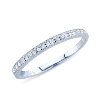 טבעת נישואין לנשים זהב לבן 14K עם יהלום