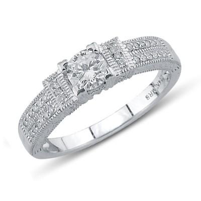 טבעת יהלום הבטחה לבן זהב 14K