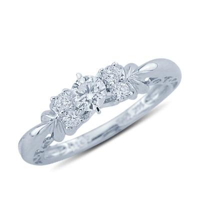 טבעת יהלום עם זהב לבן 14K