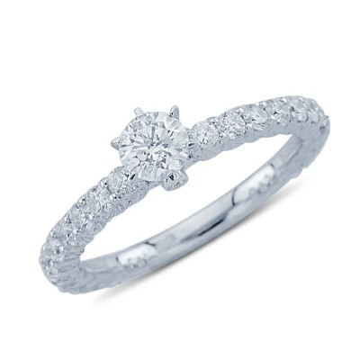 0.74 Ctw יהלום הבטחת טבעת 14K זהב לבן