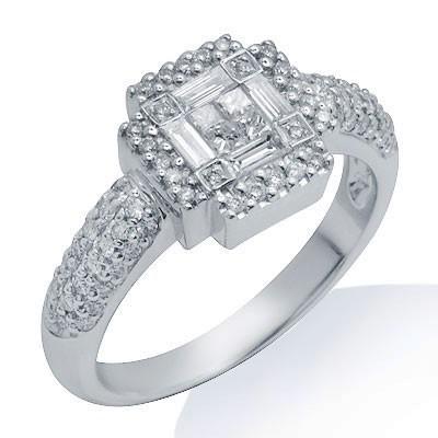 טבעת יהלום אופנה זהב לבן 18K