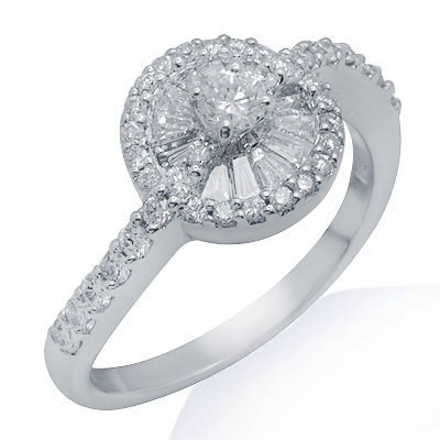 טבעת יהלום זהב לבן 18K אופנה 0.88 Ctw לנשים