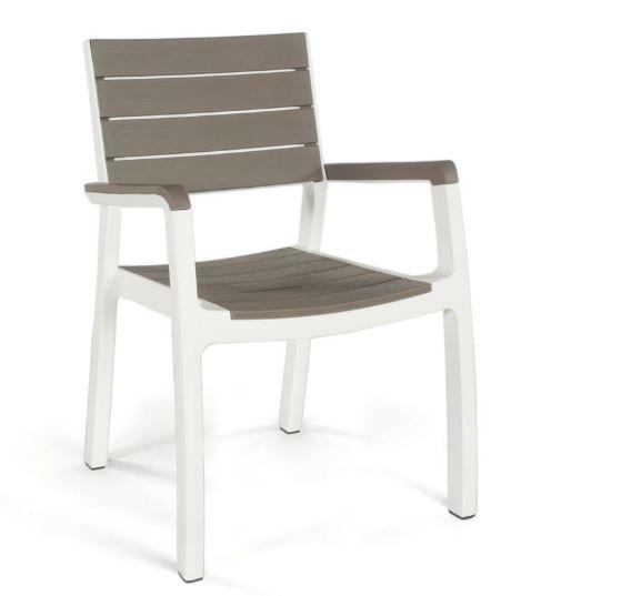 כסא הרמוני משענות יד כתר פלסטיק 17201284 צבע לבן שילוב קפוצינו