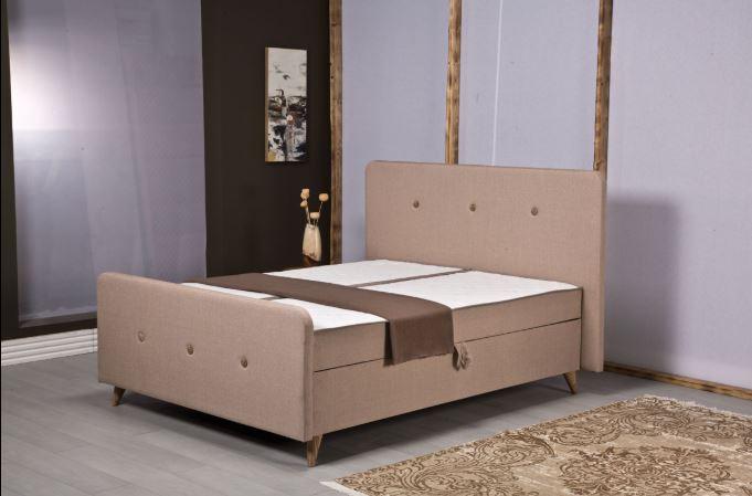 מיטה זוגית מעוצבת בריפוד בד כולל ארגז מצעים ומזרנים עם מערכת קפיצים דגם PERA