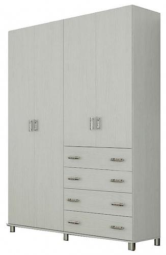 ארון בגדים 4 דלתות עם פס תליה מדפים ומגירות דגם LIAM במגוון צבעים לבחירה