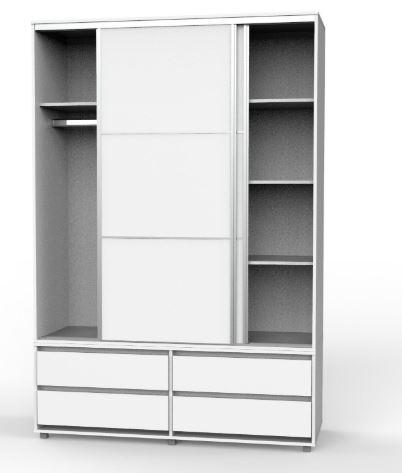 ארון הזזה 2 דלתות כולל טריקה שקטה +4 מגירות חיצוניות - דגם 713