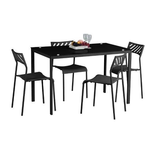 פינת אוכל עידו הכולל שולחן בעל משטח זכוכית ו-4 כיסאות