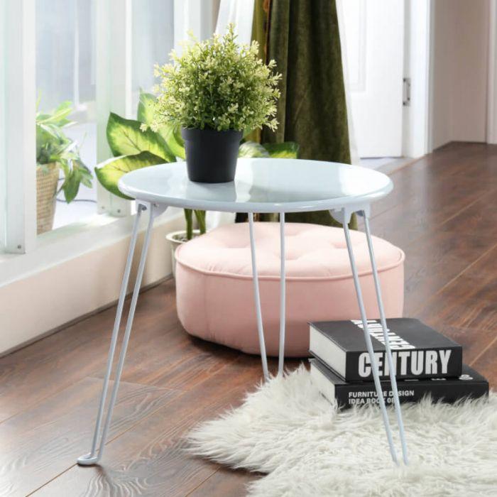 שולחן צד מעוגל (לבן)