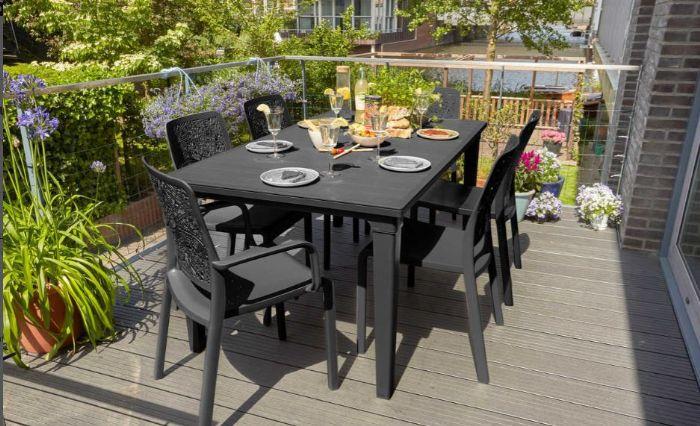 סט שולחן פוטורה עם 6 כסאות שרלוט (ללא מסעדי ידיים)