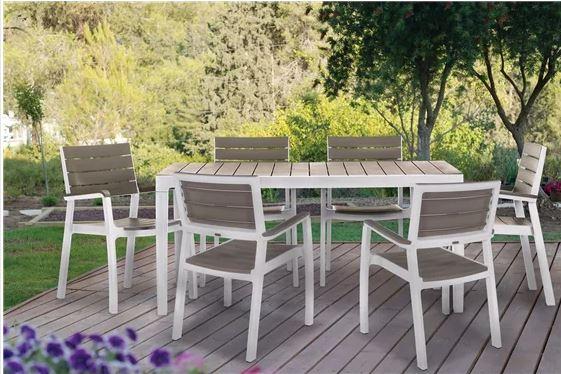 """פינת אוכל לגינה הכוללת שולחן 160 ס""""מ + 6 כסאות תואמים עם מסעדי ידיים הרמוני כתר פלסטיק"""