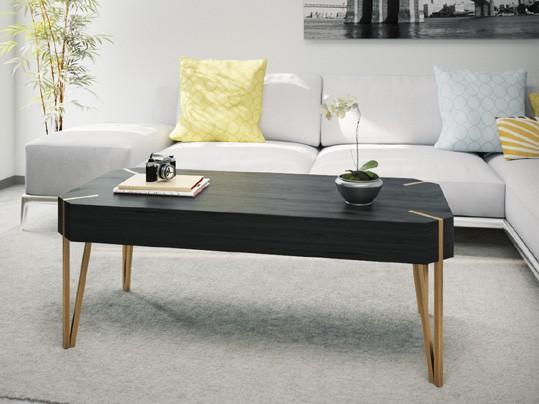 שולחן סלון בצבע שחור בטקסטורת עץ משולב ברגלי מתכת בצבע זהב דגם מסינה