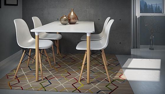 פינת אוכל הכוללת שולחן וארבעה כסאות דגם בראגה במגוון צבעים לבחירה