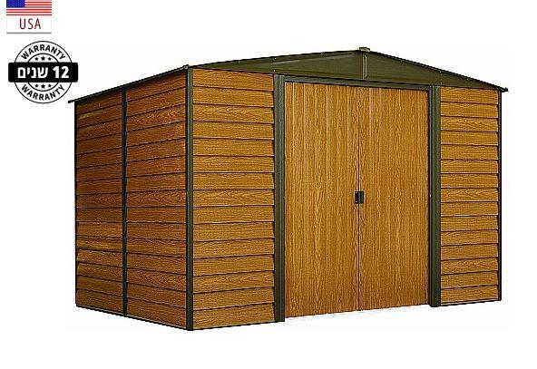 מחסן גינה ממתכת דמוי עץ, דגם: פלורידה 65 מידה 1.94X 1.51 מטר