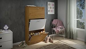 ארון נעליים דגם לורד אפור משולב לבן לאחסון של בין 18-24 זוגות נעליים