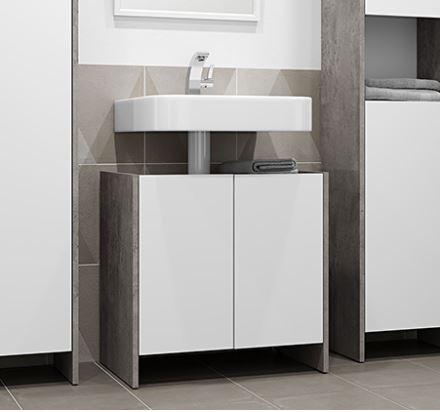 """ארון אמבטיה מתחת לכיור 60 ס""""מ עם 2 דלתות דגם BIARITZ"""