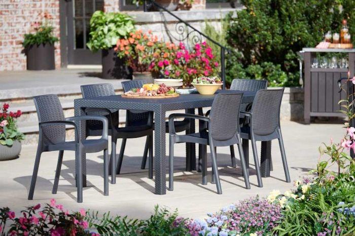 סט מלודי- שולחן ו-6 כסאות באלי MELODY SET אפור