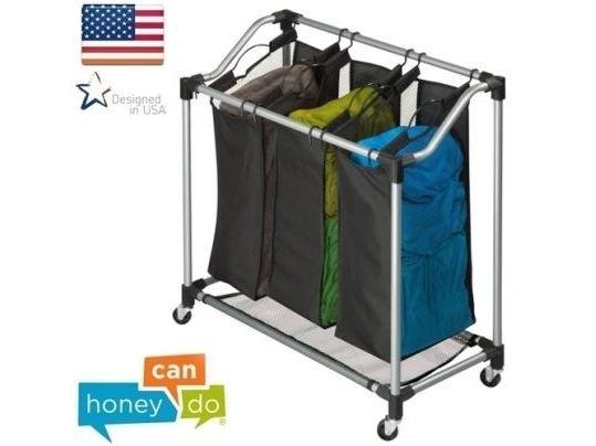 """סל כביסה 3 תאים חדשני מקצועי יציב במיוחד honey can do ארה""""ב דגם SRT-01641"""