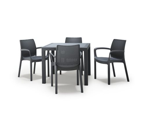 סט קוורטט- שולחן 95 דמוי ראטן מרובע ו-4 כיסאות באלי