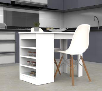 שולחן בר אי למטבח עם מדפי אחסון M6
