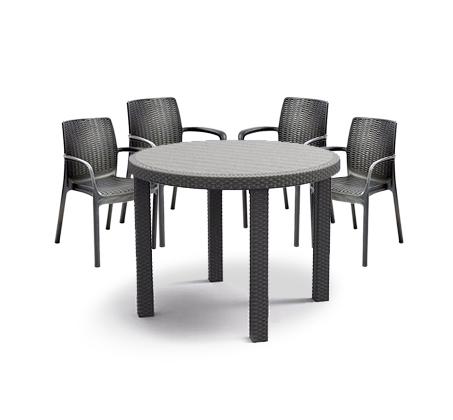"""סט פינת ישיבה לגינה דמוי ראטן שולחן עגול 96 ס""""מ ו4 כיסאות דגם סולו כתר"""