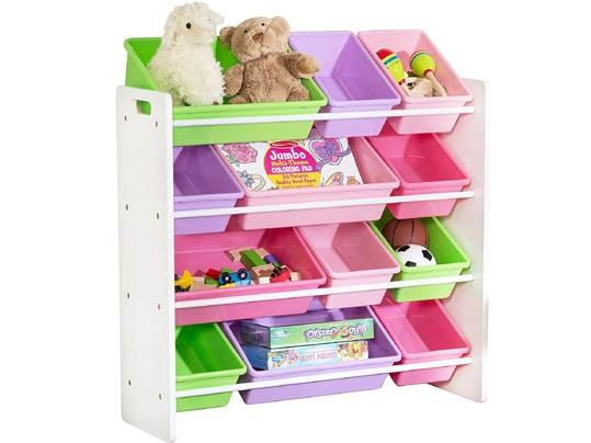 """ארגונית צעצועים 12 קופסאות צבעוניות גימור לבן בהיר דגם SRT-01603 מבית honey can do ארה""""ב"""